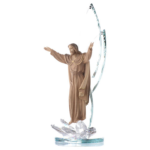 Sculpture bois Christ Ressuscité h 31 cm avec cristaux 2