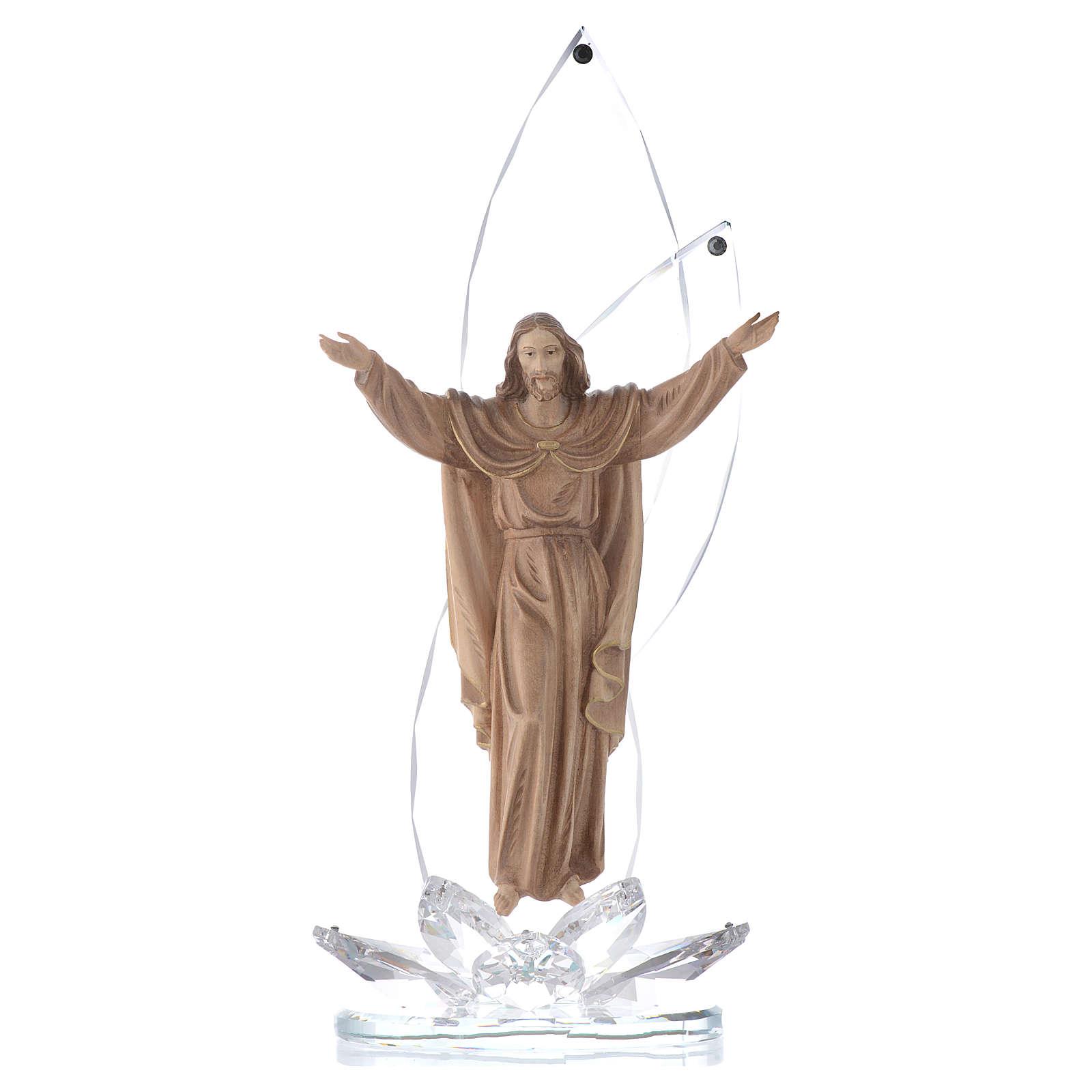 Scultura legno Cristo risorto h cm 31 con cristalli 3
