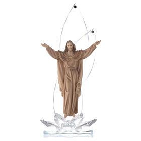 Scultura legno Cristo risorto h cm 31 con cristalli s1