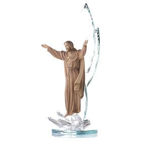 Scultura legno Cristo risorto h cm 31 con cristalli s2