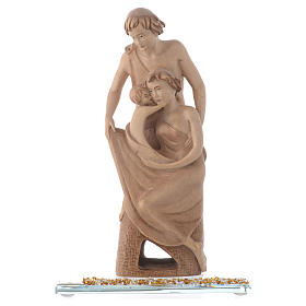 Statua in legno Gioia Familiare h. 20 cm base cristallo s1
