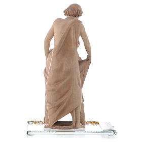Statua in legno Gioia Familiare h. 20 cm base cristallo s3