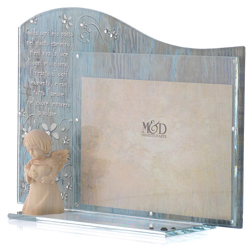 Cadre verre bleu ange bois 20x15 cm 2