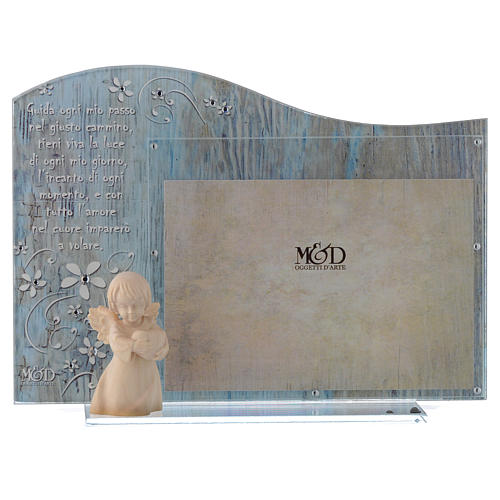Cornice vetro Blu angelo legno 20x15  cm 1