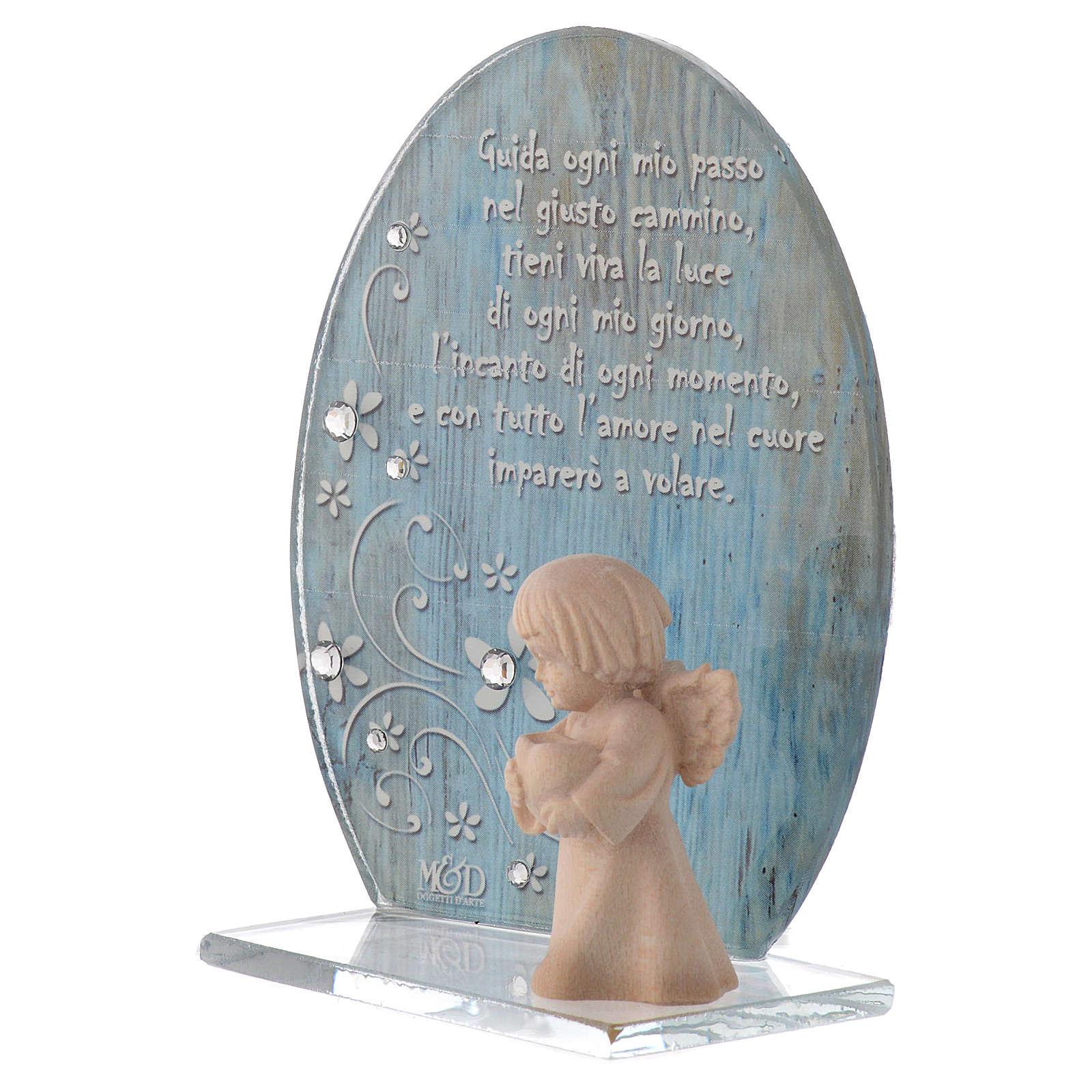 Bomboniera vetro con Angelo legno blu h. 10 cm 3