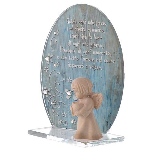 Bomboniera vetro con Angelo legno blu h. 10 cm 2