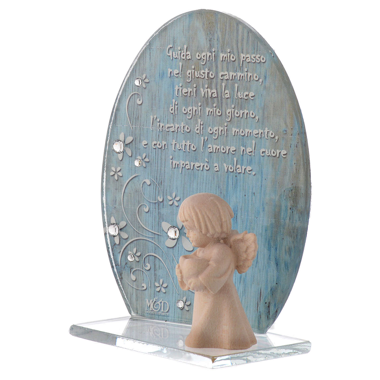 Glass favour with wooden angel 10cm blue 3