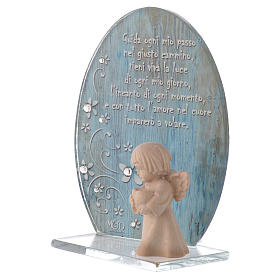 Glass favour with wooden angel 10cm blue s2