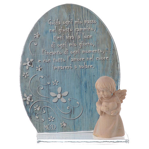 Glass favour with wooden angel 10cm blue 1