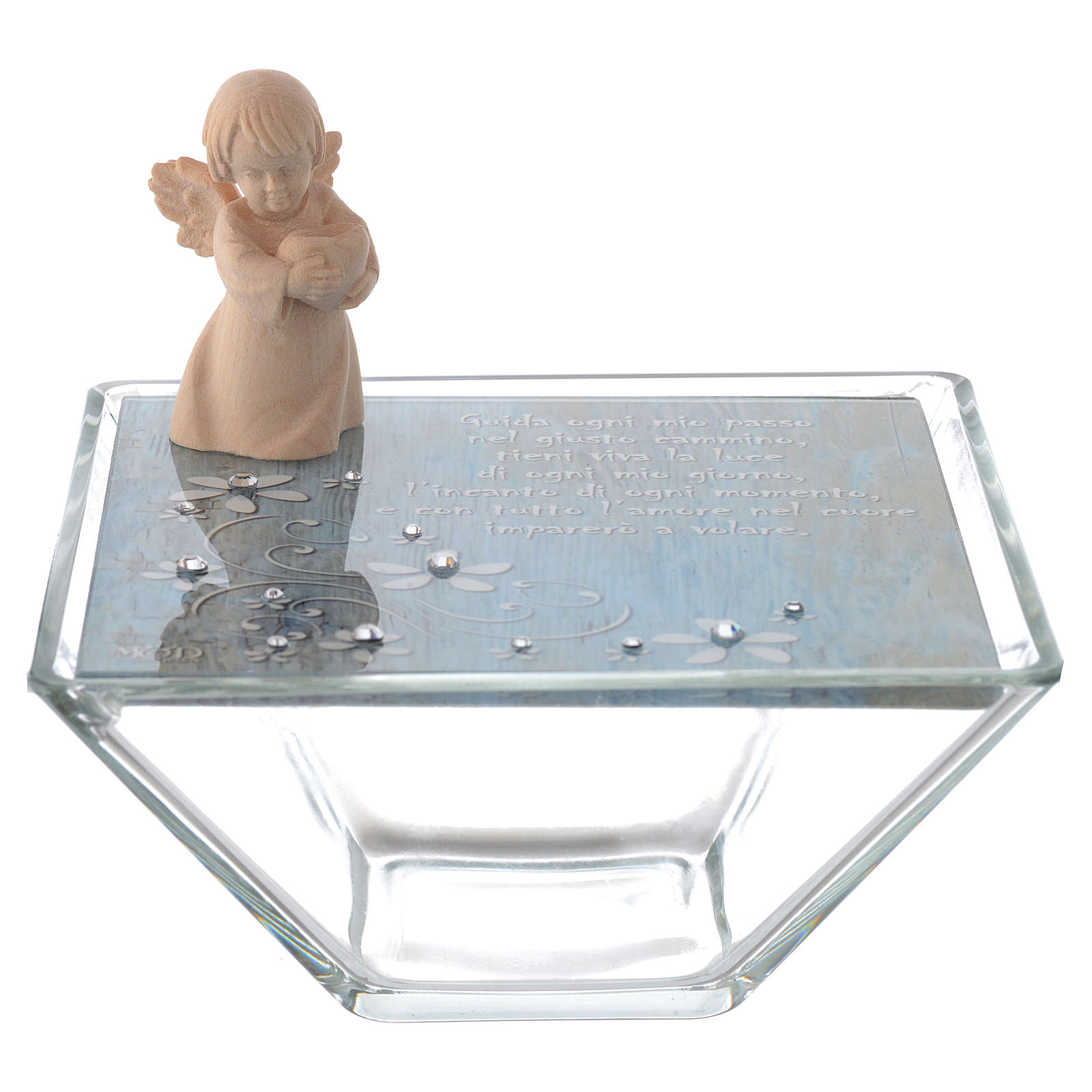 Favour Box in blue glass 14x14cm with angel in wood 3