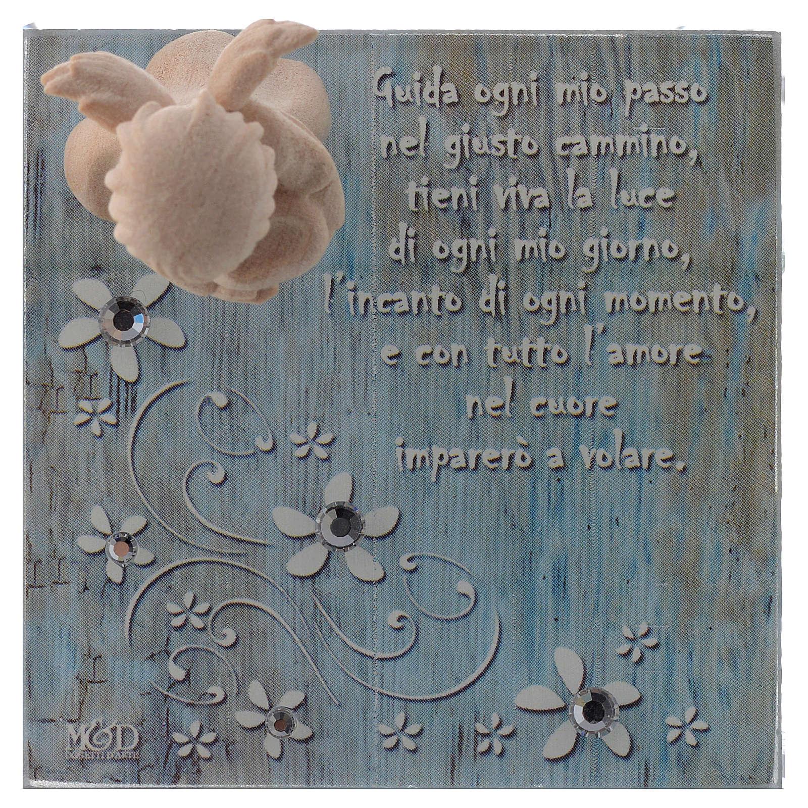 Bomboniera scatolina vetro 8x8 angelo legno blu 3