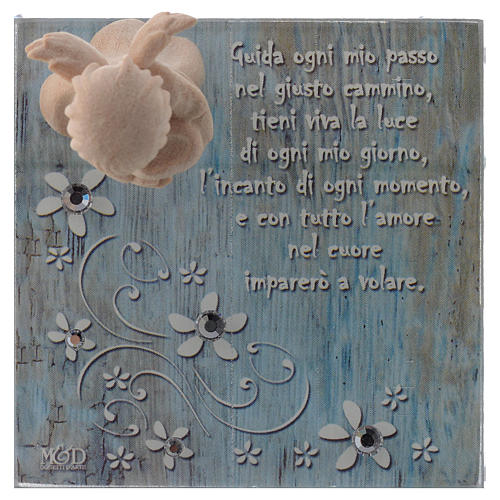 Bomboniera scatolina vetro 8x8 angelo legno blu 2