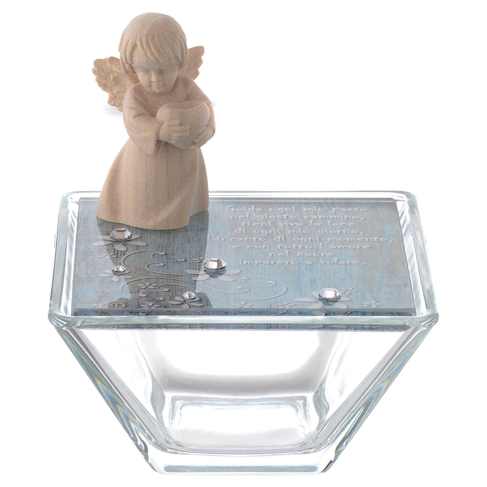 Box in blue glass 8x8cm with angel in wood 3