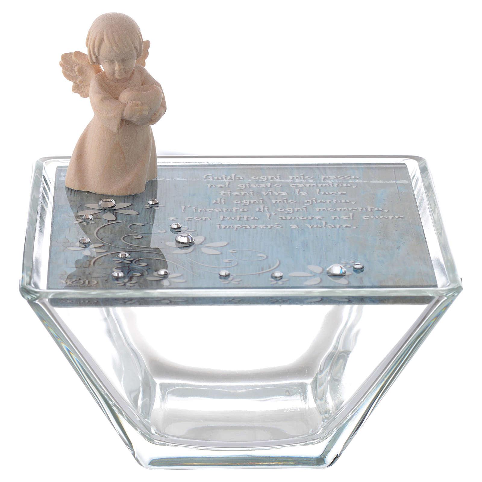 Bomboniera scatolina vetro blu 10x10 cm angelo legno 3