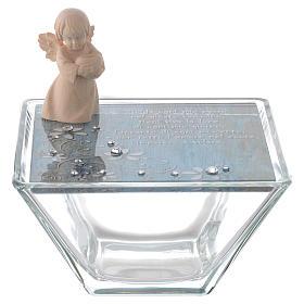 Bomboniera scatolina vetro blu 10x10 cm angelo legno s1