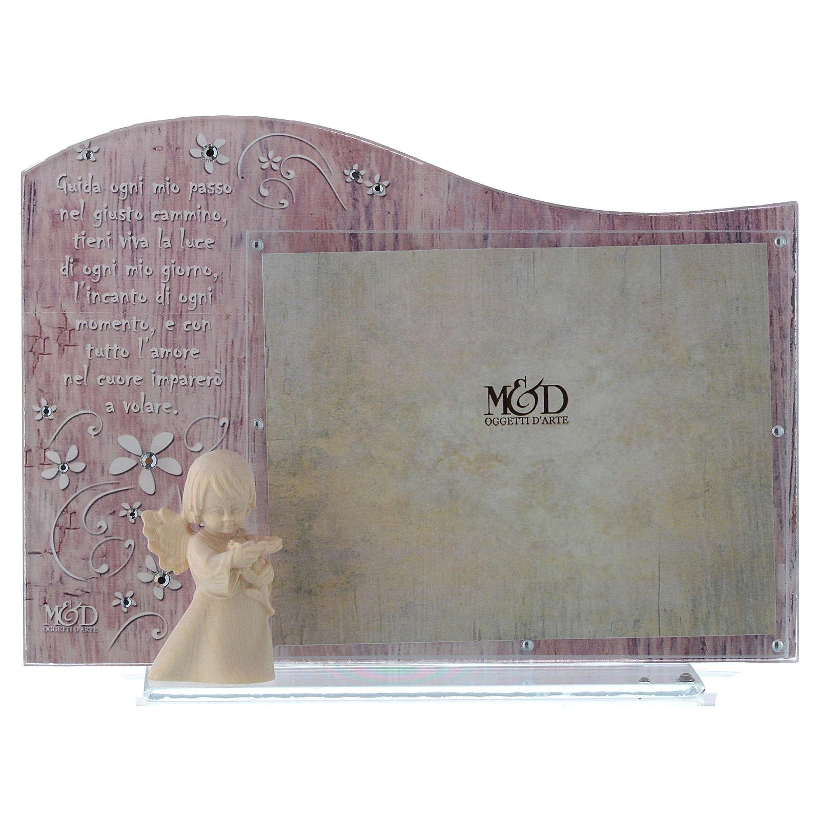 Cornice rosa con angelo in legno cm 20x15 3