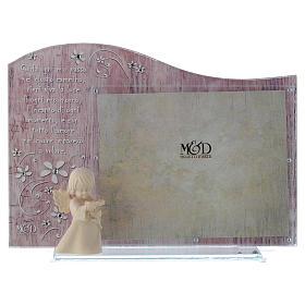 Cornice rosa con angelo in legno cm 20x15 s1