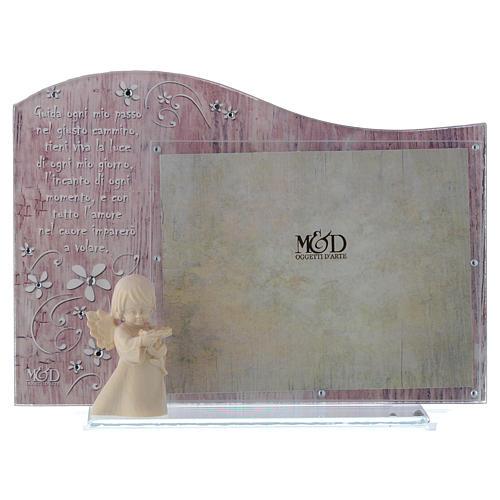 Cornice rosa con angelo in legno cm 20x15 1