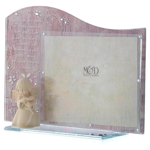 Cornice rosa con angelo in legno cm 20x15 2
