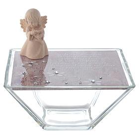 Bomboniera scatola 14x14 angelo legno rosa s1