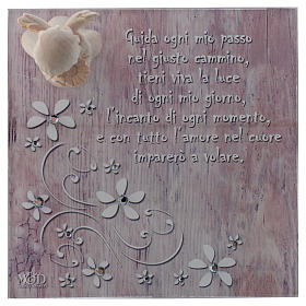 Bomboniera scatola 14x14 angelo legno rosa s2