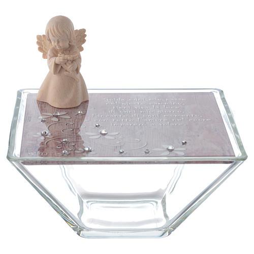 Bomboniera scatola 14x14 angelo legno rosa 1