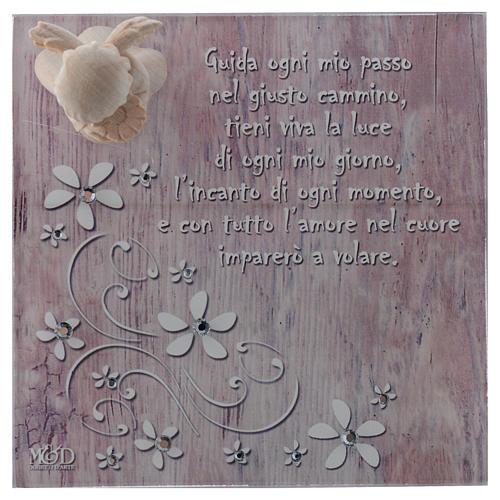 Bomboniera scatola 14x14 angelo legno rosa 2