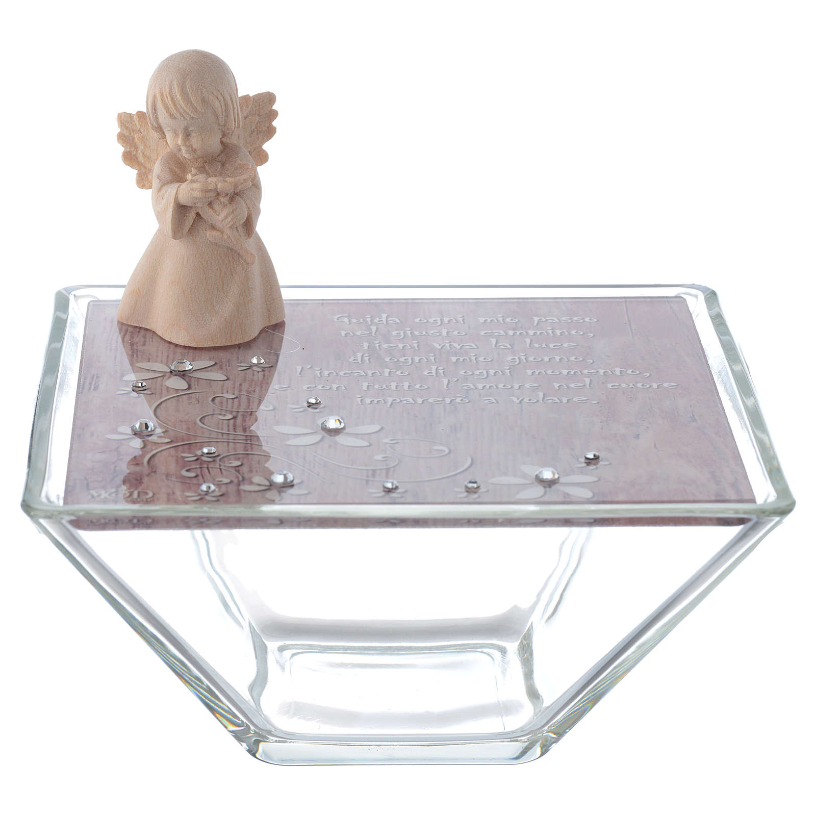 Favour Box in pink glass 14x14cm with angel in wood 3