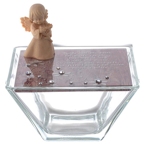 Box in pink glass 10x10cm with angel in wood 1