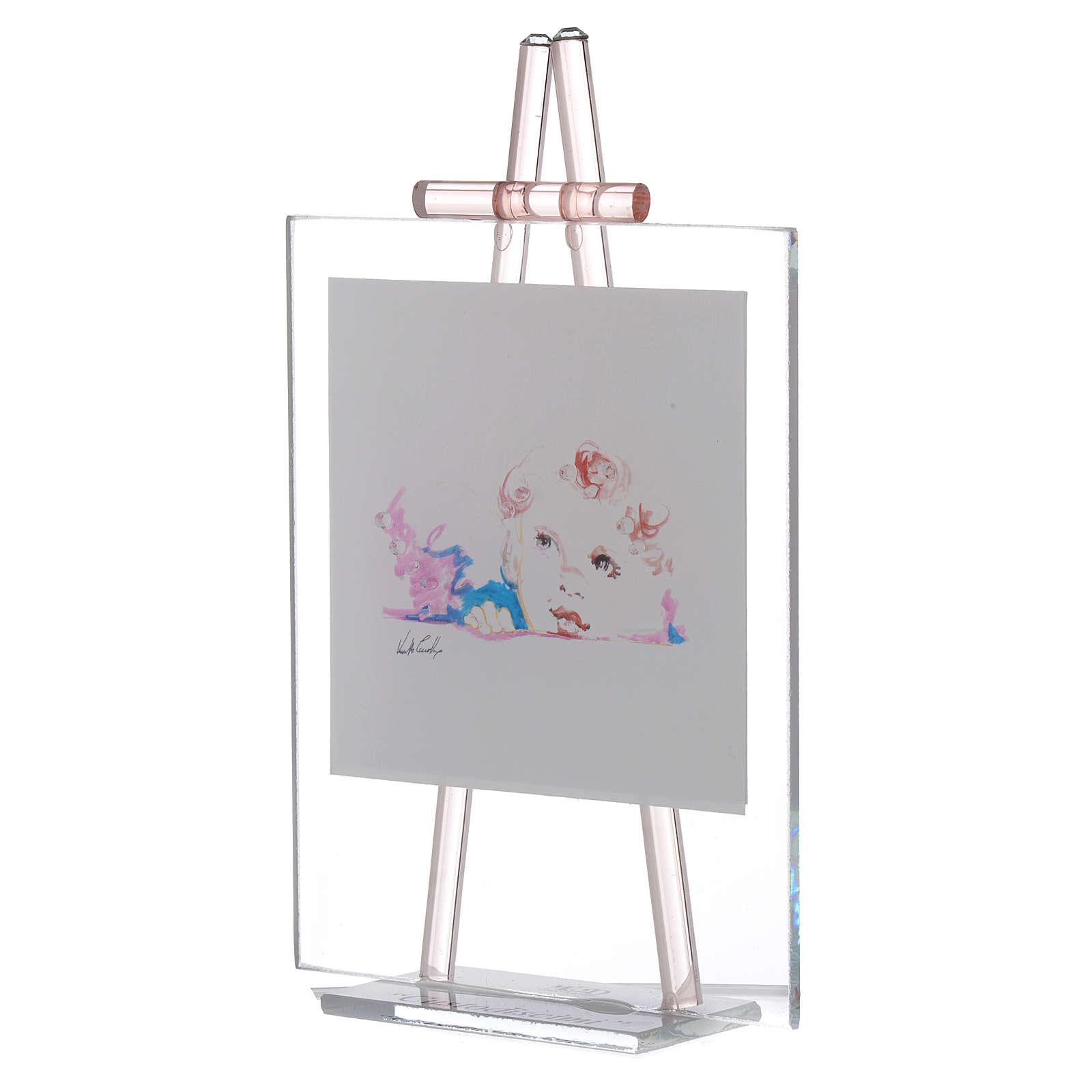 cadre poser en verre 39 custodiscimi 39 11x14 cm rose vente en ligne sur holyart. Black Bedroom Furniture Sets. Home Design Ideas