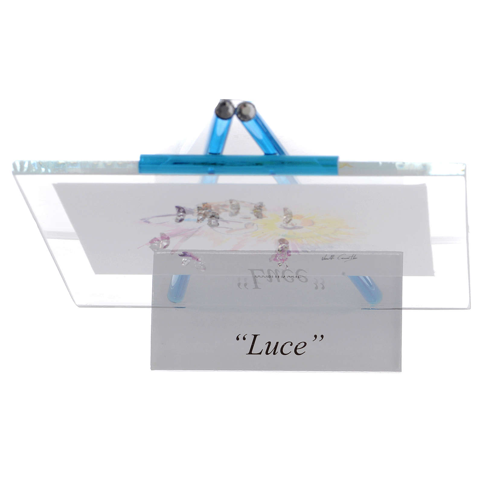 Quadretto acquerello Luce da appoggio 11x14 acquamarina 3