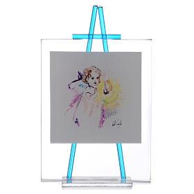 Quadretto acquerello Luce da appoggio 11x14 acquamarina s1