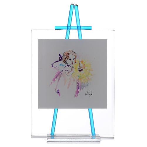 Quadretto acquerello Luce da appoggio 11x14 acquamarina 1