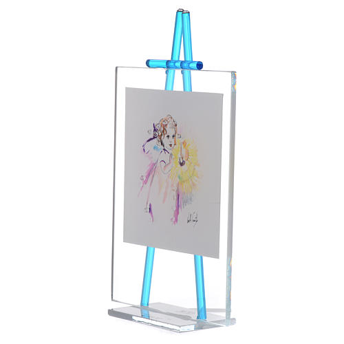Quadretto acquerello Luce da appoggio 11x14 acquamarina 2