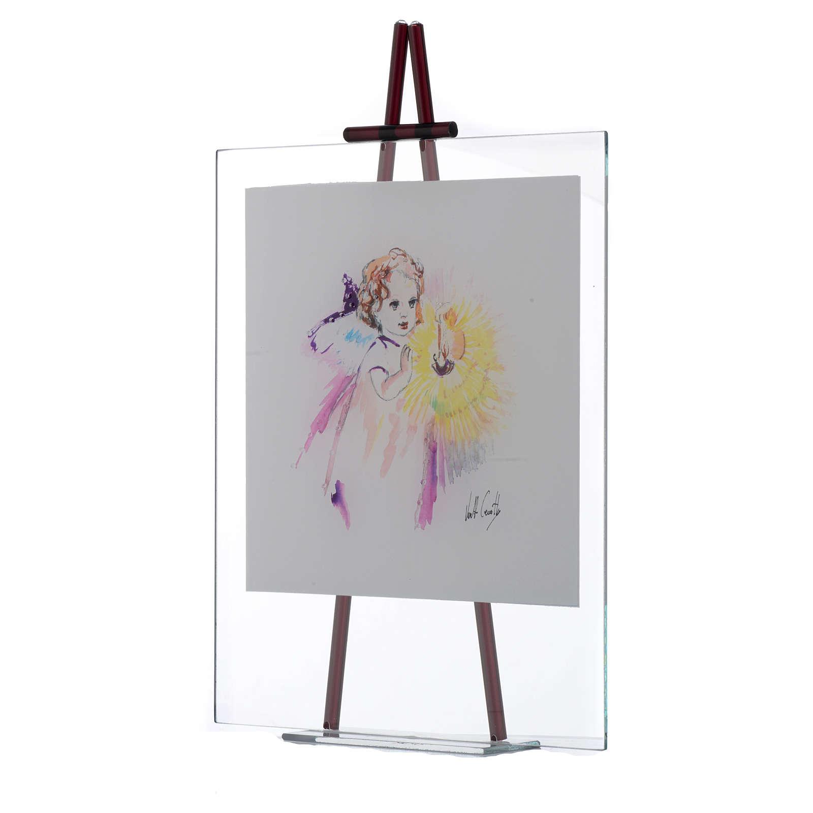 Quadro acquerello Luce da appoggio 27x32 cm Lilla 3
