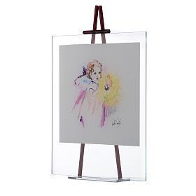 Quadro acquerello Luce da appoggio 27x32 cm Lilla s2