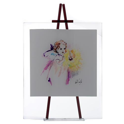 Quadro acquerello Luce da appoggio 27x32 cm Lilla 1