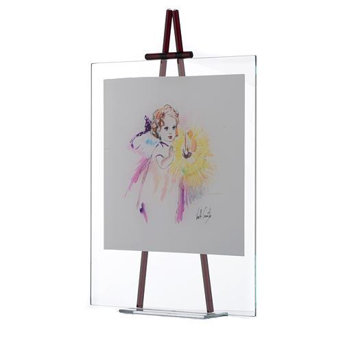 Quadro acquerello Luce da appoggio 27x32 cm Lilla 2