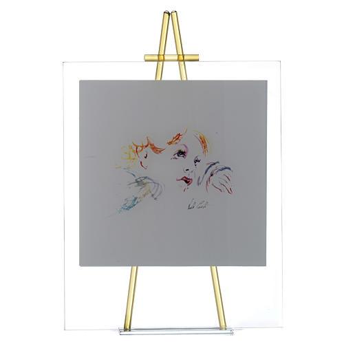 Quadro acquerello Eccomi da appoggio 27x32 cm topazio 1