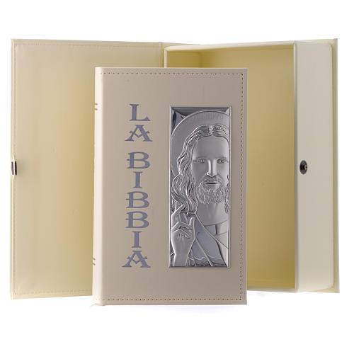 Bibbia in similpelle écru immagine Gesù in bilaminato argento 1