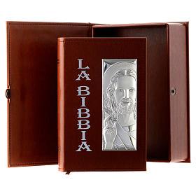 Bibbia in similpelle marrone immagine Gesù in bilaminato argento s1