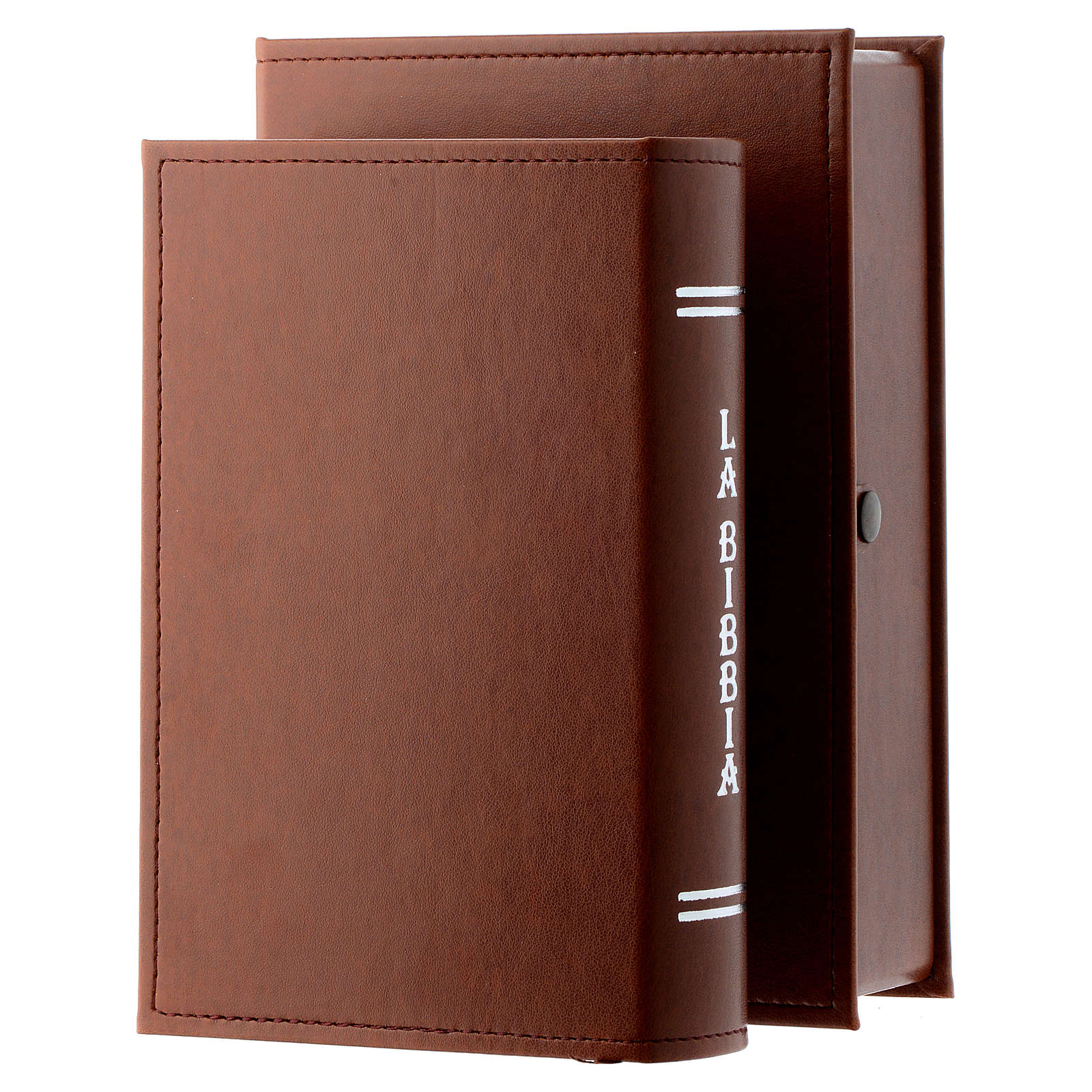 Bible with Jesus image in brown leather imitation with double laminated silver 3