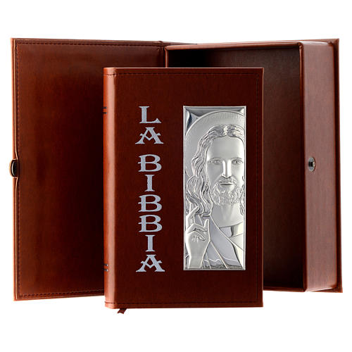 Bible with Jesus image in brown leather imitation with double laminated silver 1