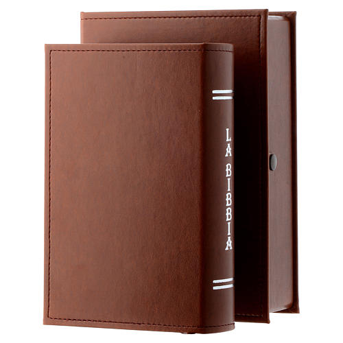 Bible with Jesus image in brown leather imitation with double laminated silver 2