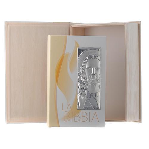 Bibbia in similpelle immagine Gesù in bilaminato argento 1