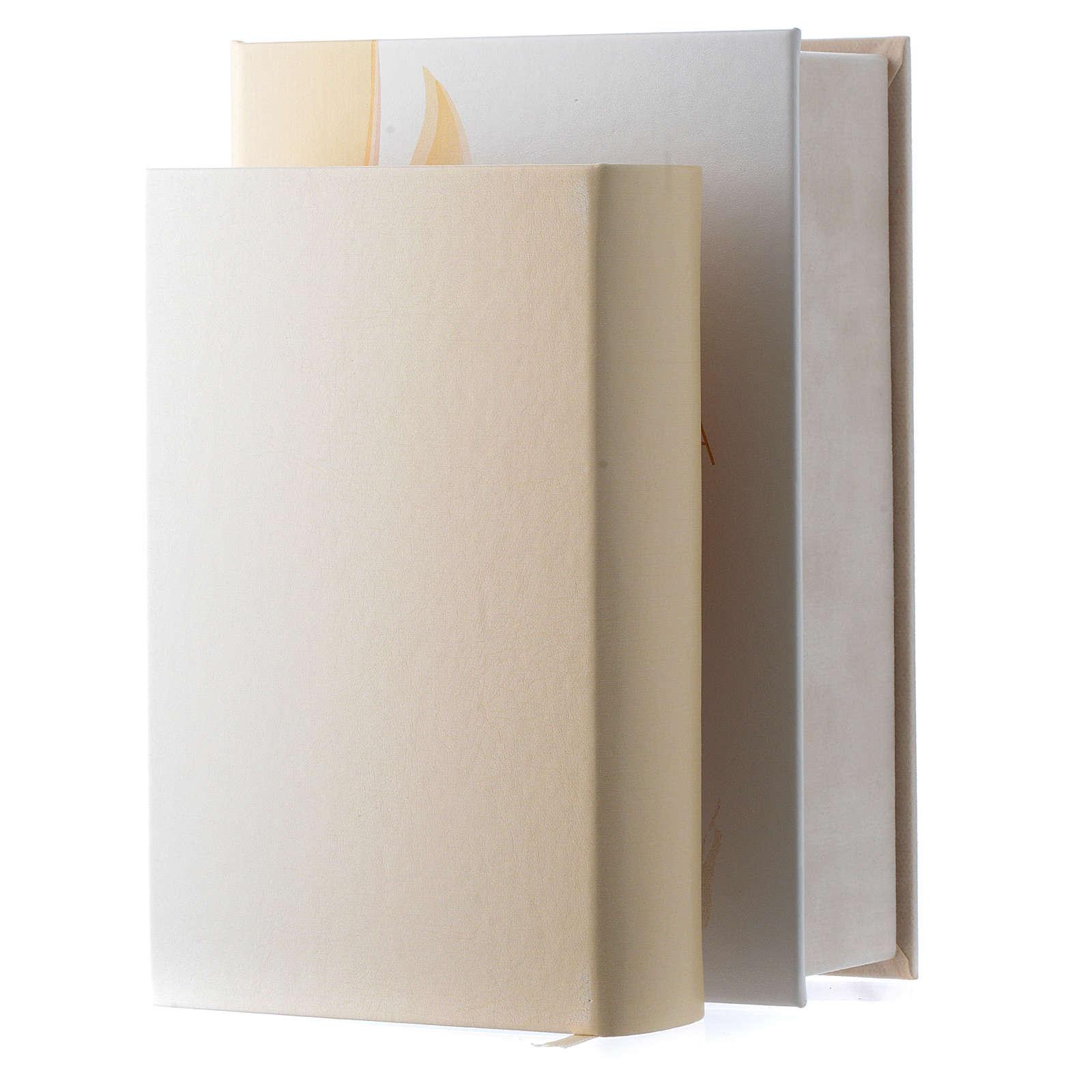 Biblia en ITALIANO de simil cuero imagen Sagrada Familia de bilaminado plata 3