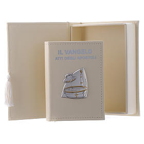Baptism gospel in leather imitation with pouch and double laminated silver s1