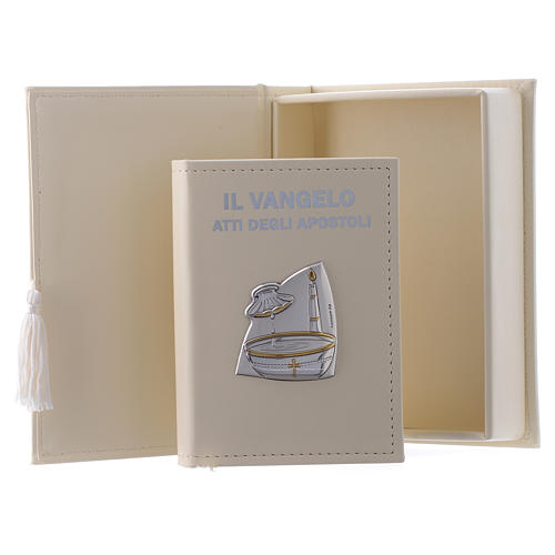 Baptism gospel in leather imitation with pouch and double laminated silver 1