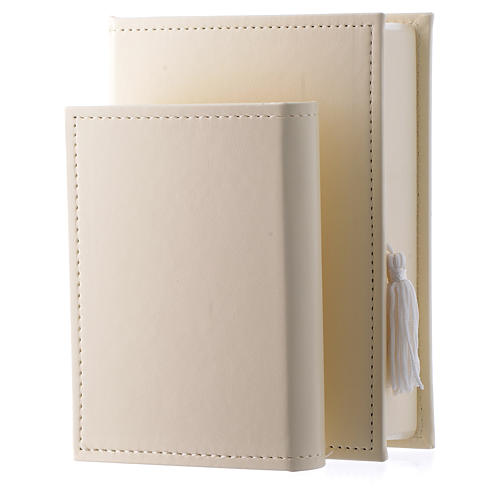 Baptism gospel in leather imitation with pouch and double laminated silver 2