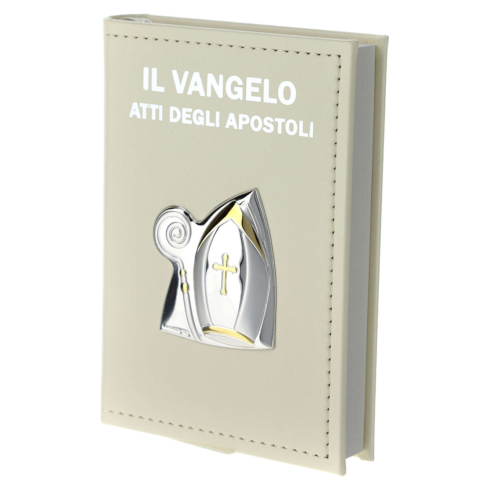 Confirmation gospel in leather imitation with pouch and double laminated silver application 3